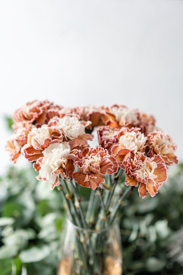 Cravo incomum da cor do grupo no vaso de vidro Flores do ramalhete no fundo claro wallpaper imagens de stock royalty free