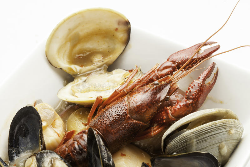 Crawdad,clams and Mussels. Close up view of cooked crawdad,clams and Mussels royalty free stock photo
