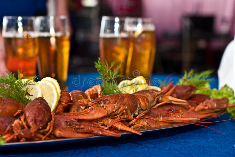 Crawfish. Food series: fresh boiled crawfish with beer stock photography