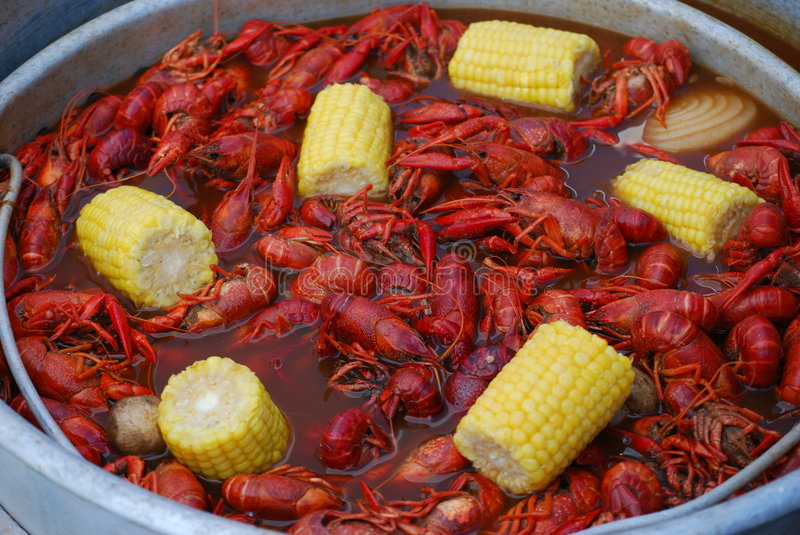 Crawfish boil. Genuine Louisiana Crawfish Boil with corn stock images