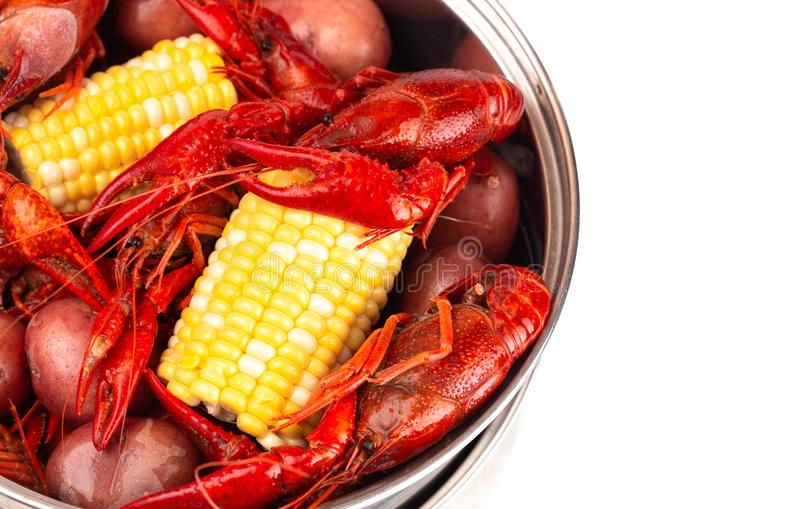 A Crawfish Boil with Corn on the Cob and Potatoes stock photography