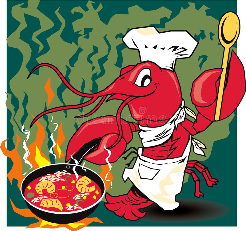 Download Crawfish Chef stock vector. Image of fire, mascot, flames - 24170650