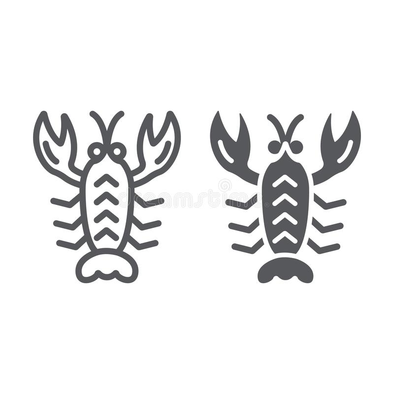Crawfish line and glyph icon, sea and food, lobster sign, vector graphics, a linear pattern on a white background. vector illustration