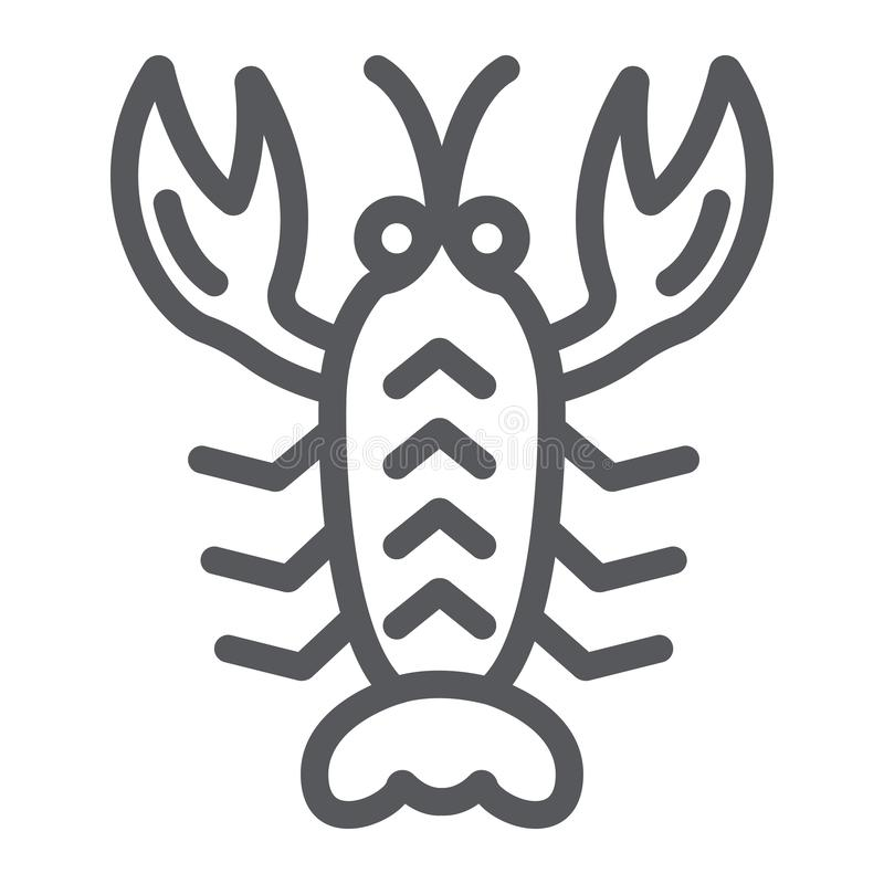 Crawfish line icon, sea and food, lobster sign, vector graphics, a linear pattern on a white background. vector illustration