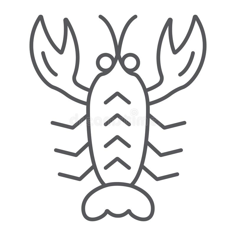 Crawfish thin line icon, sea and food, lobster sign, vector graphics, a linear pattern on a white background. vector illustration