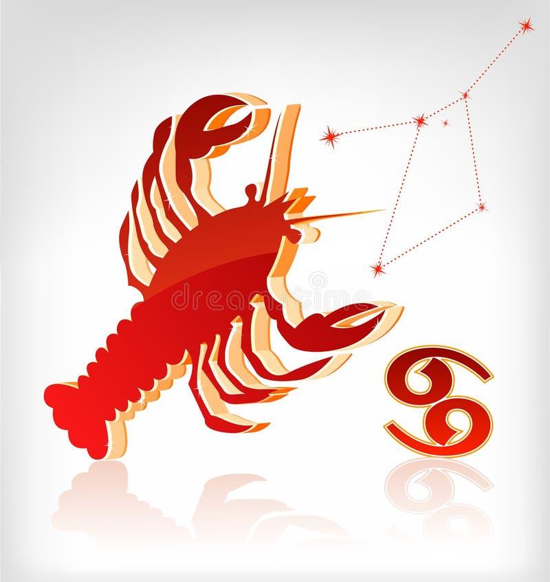 Crawfish zodiac astrology icon for horoscope stock illustration