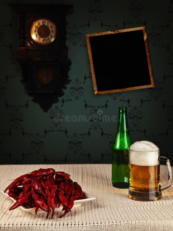 Crawfishes en bier royalty-vrije stock foto's
