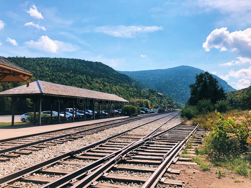 Crawford Depot in New Hampshire. Crawford Depot, Maine Central Passenger Railway Station, is a historic passenger railroad station at the top of Crawford Notch royalty free stock image