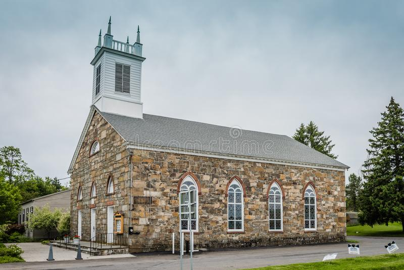 Hopewell Presbyterian Church Landmark. Crawford, NY /USA - June 9, 2018: Historic stone church in Upstate New York is on the National Register royalty free stock photo