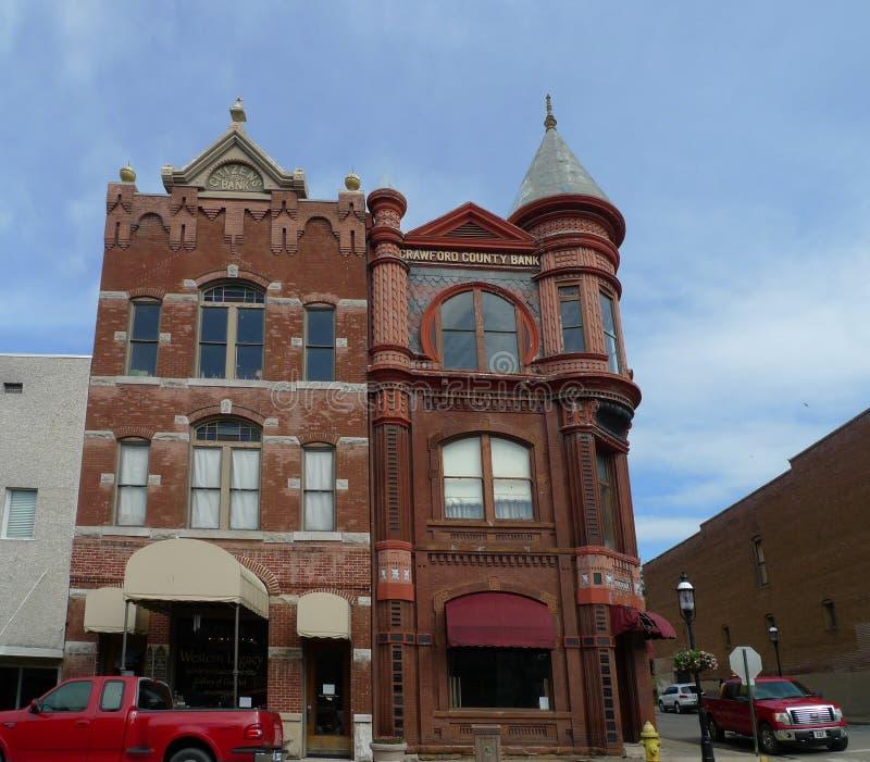 Crawford okręgu administracyjnego banka budynku śródmieście, Van Buren, Arkansas fotografia stock