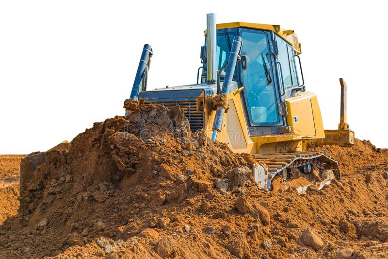 Crawler bulldozer - excavator with clipping path isolated on white background. work on construction site or sand pit. Scoop, industry, wheel, equipment royalty free stock photography