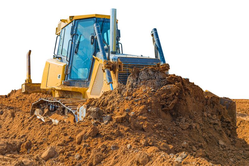 Crawler bulldozer - excavator with clipping path isolated on white background. work on construction site or sand pit. Scoop, industry, wheel, equipment stock photo
