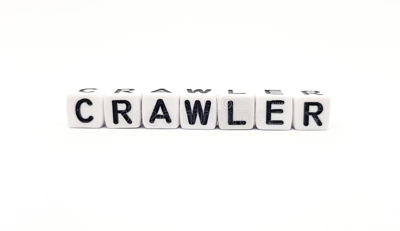 Crawler word built with white cubes and black letters on white background. Advertising blog blogs brand card commercial concept customer decoration decorative royalty free stock image