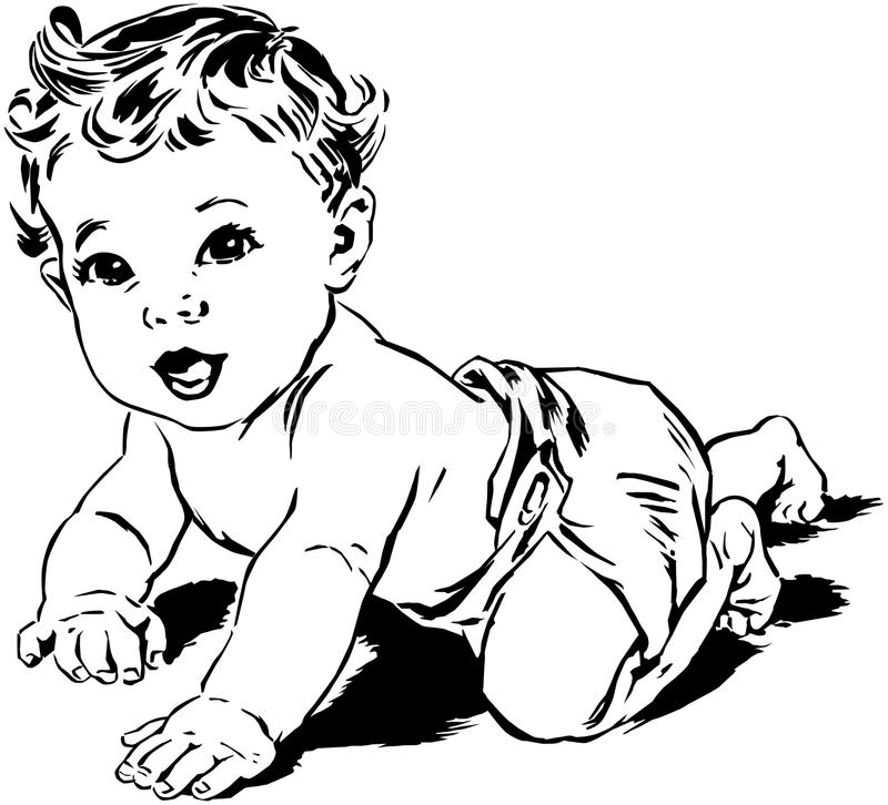 Crawling Baby stock vector. Illustration of boys, forties ...