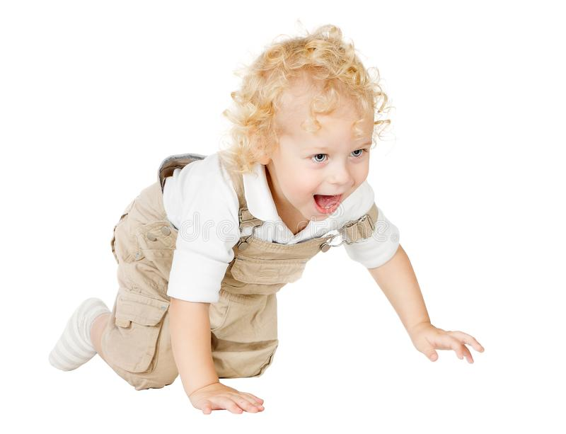 Crawling Child, One Year Old Kid Crawl on all fours, Baby on White. Crawling Child, One Year Old Kid Crawl on all fours, Laughing Baby Isolated over White royalty free stock image