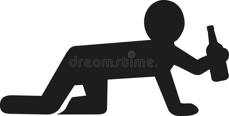 Crawling man on all fours with beer bottle stock illustration