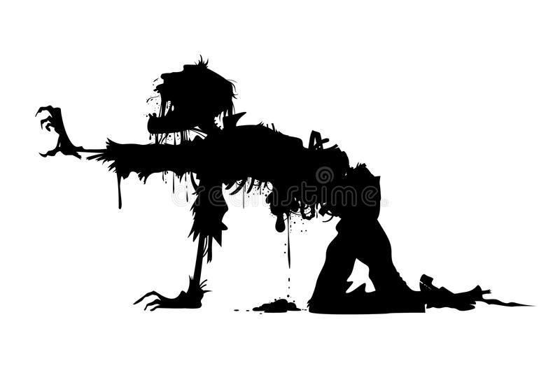 Crawling rotten zombie silhouette. Rotting zombie crawling on all fours vector illustration