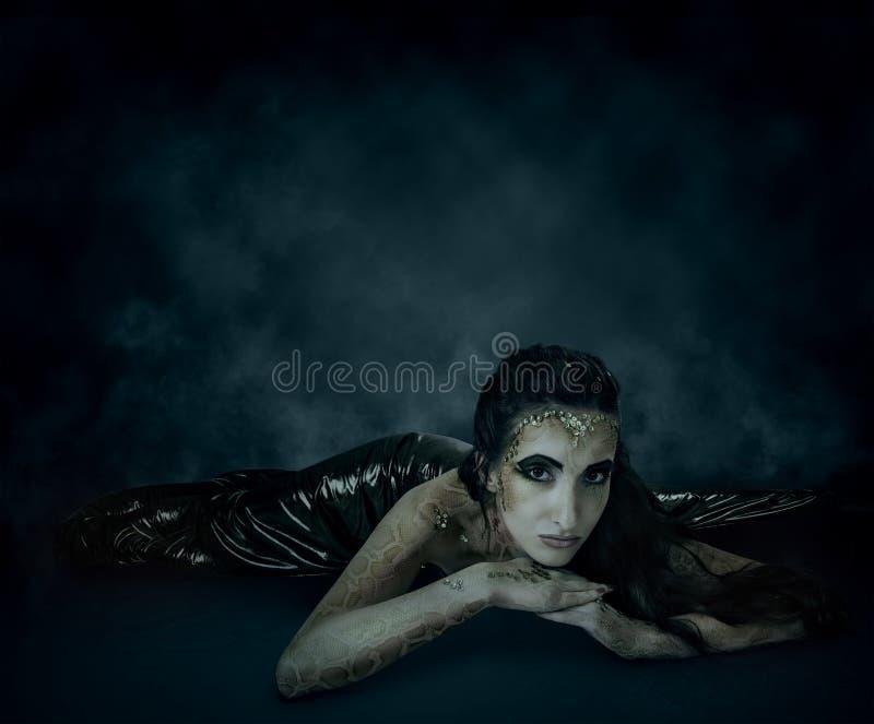 Download Crawling snake-girl stock image. Image of creative, light - 27998873
