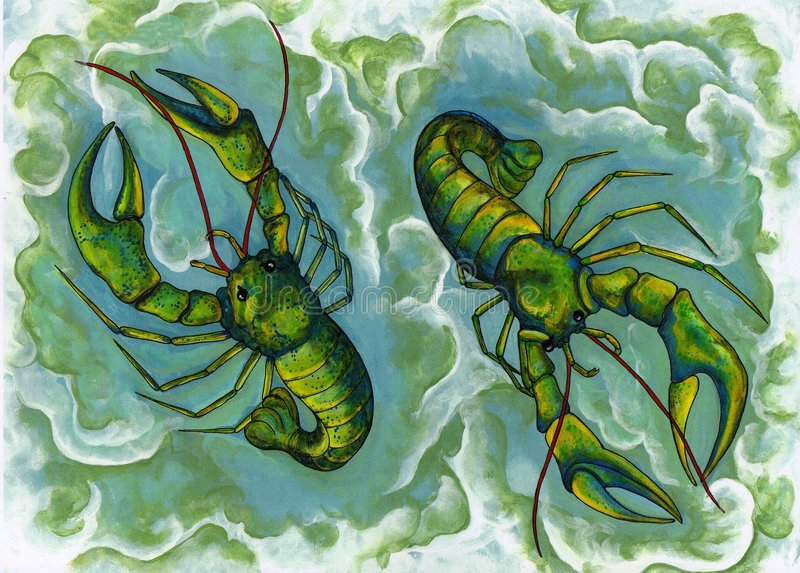 Cray Twins. A Painting with a sense of humour crayfish called 'Cray Twins' by Pickle Lilly royalty free illustration