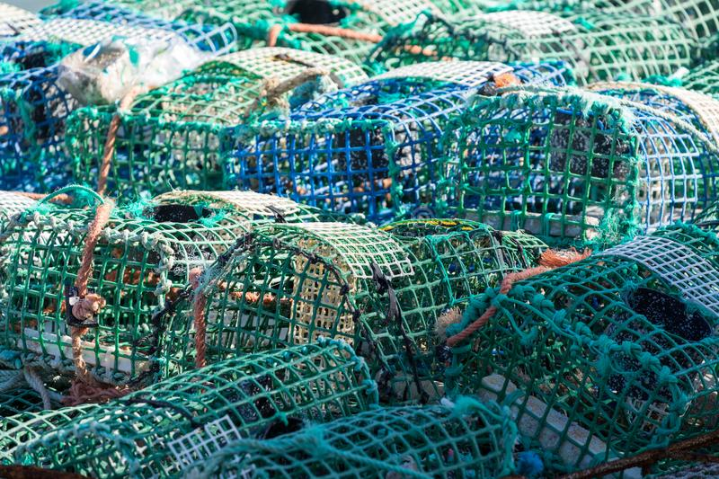 Crayfish cages on a fishing vessel.  stock photo