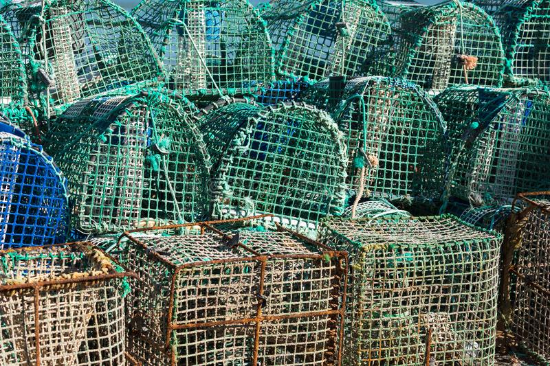 Crayfish cages on a fishing vessel.  royalty free stock photos