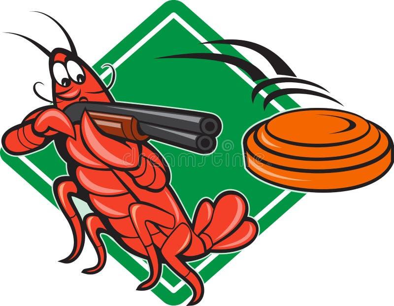 Crayfish Lobster Target Skeet Shooting. Illustration of a crayfish lobster skeet target shooting using shotgun rifle aiming at flying clay disk with diamond vector illustration