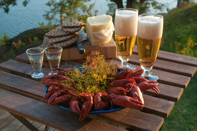 Crayfish party. Table set for a traditional Swedish crayfish party