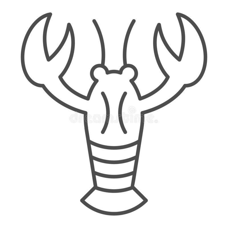Crayfish thin line icon. Crustacean vector illustration isolated on white. Lobster outline style design, designed for vector illustration