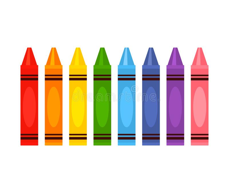 Crayola`s large color pencil set in rainbow colors. Flat vector illustration isolated on white background vector illustration