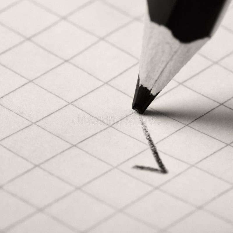 Crayon écrivant un repère photographie stock