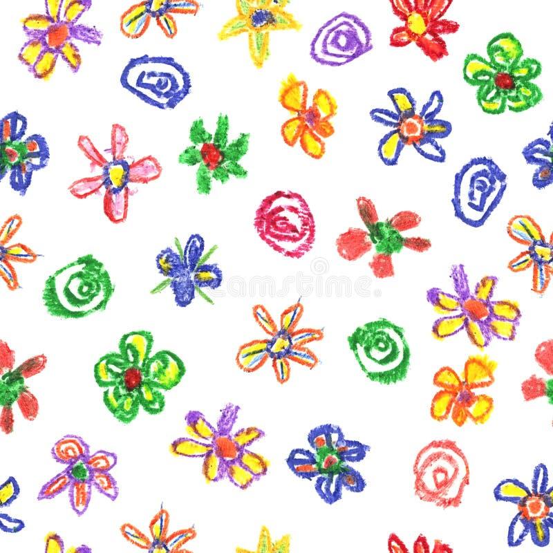 Crayon воска любит картина ` ребенк нарисованная s красочная безшовная с цветками на белизне бесплатная иллюстрация