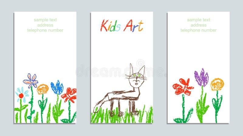 Crayon воска любит цветки, трава, поле и кот искусства чертежа руки ` s ребенка красочные бесплатная иллюстрация