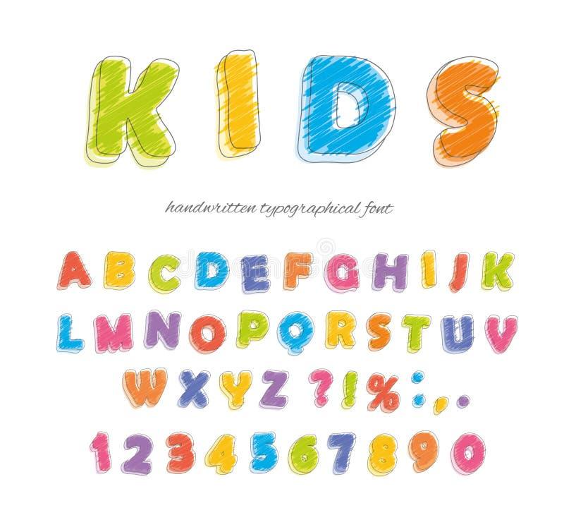 Crayon карандаша шрифта для детей Рукописный, scribble вектор иллюстрация штока