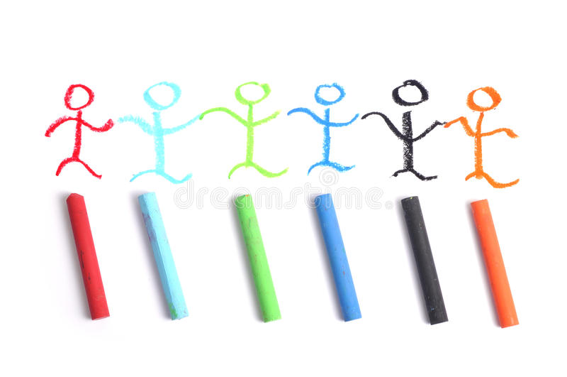 Crayon art team royalty free stock image