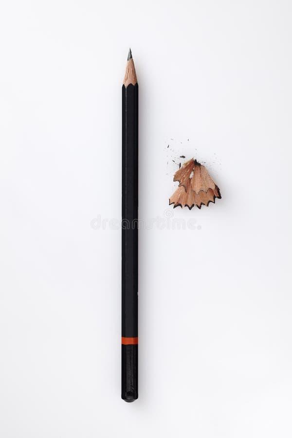 Crayon avec des copeaux photographie stock libre de droits