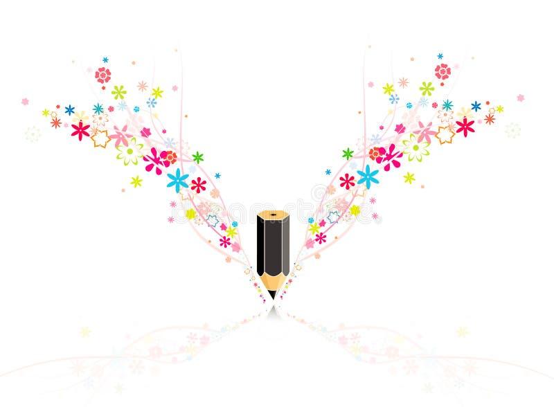 Crayon avec des fleurs illustration de vecteur