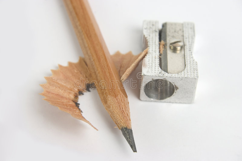 Crayon avec l'affûteuse image libre de droits