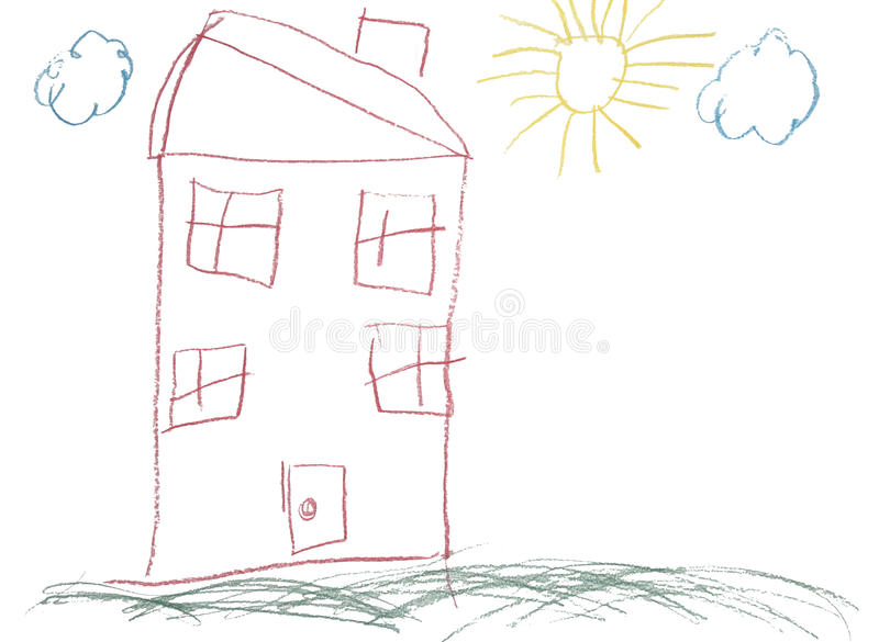 Download Crayon Childlike Hand Drawn Picture Of House Stock Illustration - Illustration of clipart, hand: 13184943