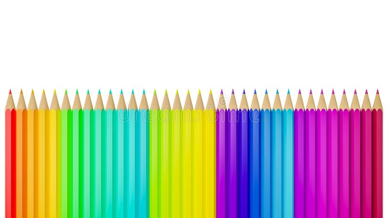 Crayon coloré de couleur dans une rangée d'isolement sur le fond blanc - illustration 3D illustration stock