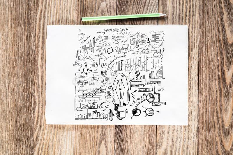 Crayon cr?atif de gestion des projets tir? par la main photo stock