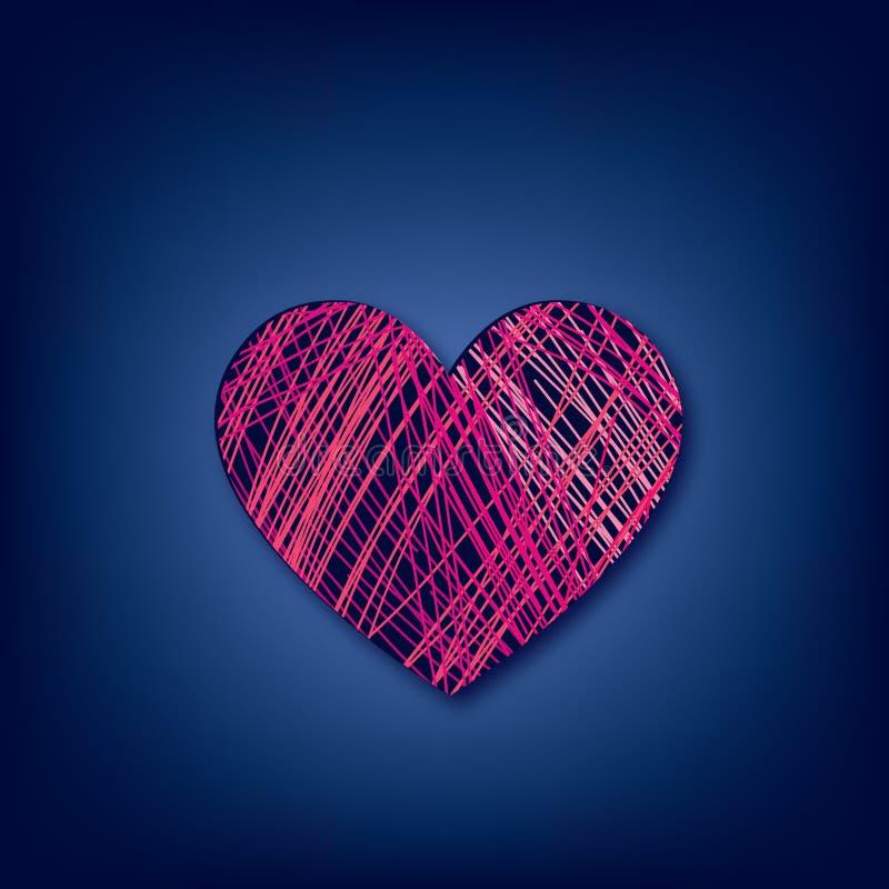 Crayon de coeur d'amour dessiné au-dessus du fond bleu-foncé ` S D de Valentine illustration libre de droits