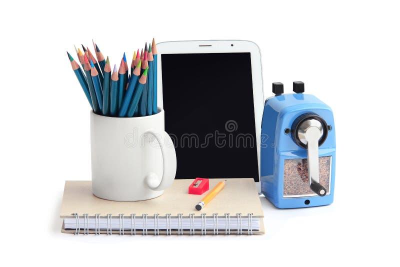 Crayon de couleur, carnet, comprimé photo libre de droits