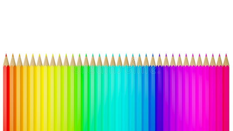 Crayon de couleur d'arc-en-ciel dans une rangée d'isolement sur le fond blanc - illustration 3D illustration stock