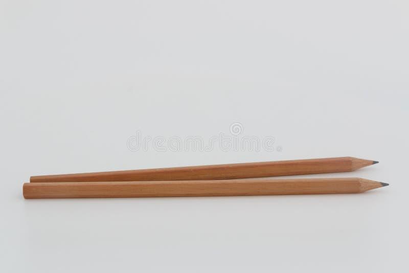 Crayon de deux Brown avec le concept pointu images stock