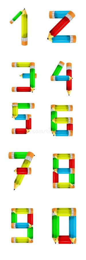 Crayon de numéros illustration de vecteur