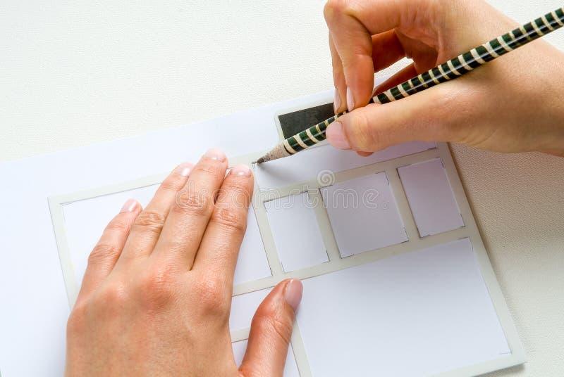 Crayon de papier de pochoir photographie stock