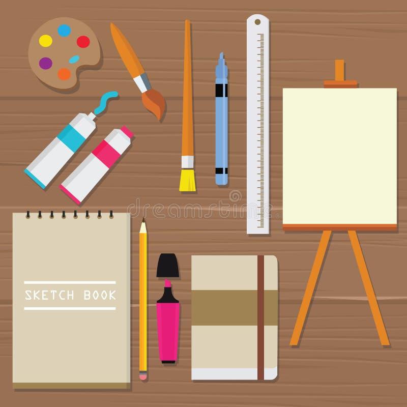 Crayon de règle de tube d'huile de livre de croquis de toile de brosse d'art d'équipement d'outils de peinture de palette d'objet illustration de vecteur
