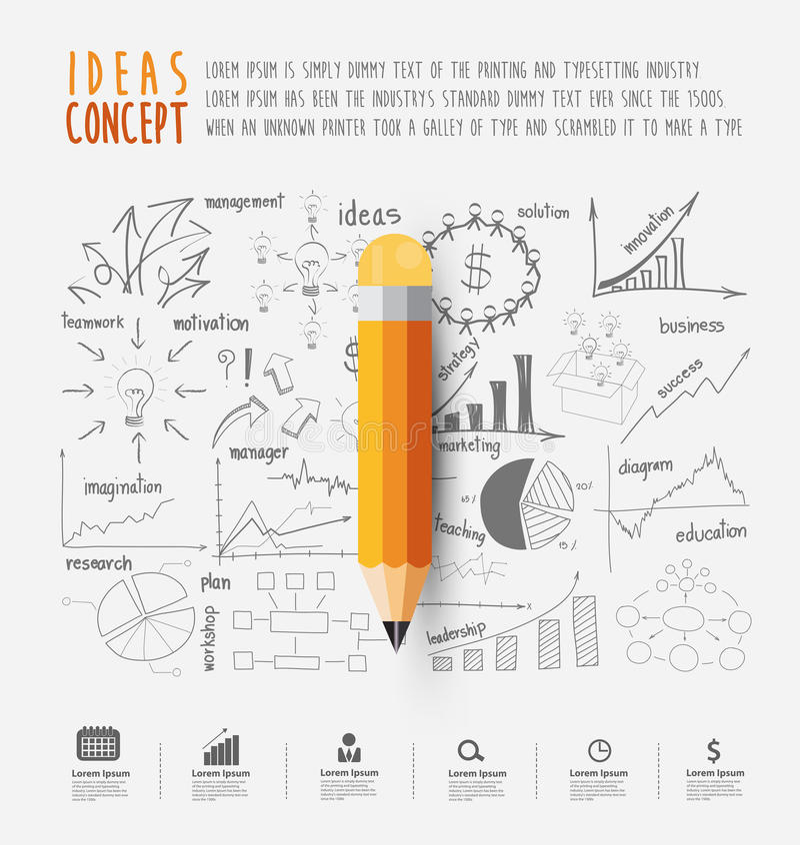 Crayon de vecteur sur des diagrammes et des graphiques de dessin illustration de vecteur