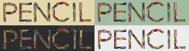 CRAYON de Word construit des crayons utilisés sur quatre genres de milieux photo stock