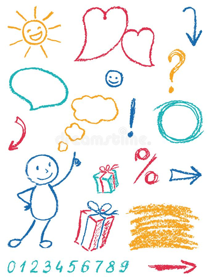 Crayon design element set and symbol like child`s drawing funny art stroke doodle sketch style. royalty free illustration